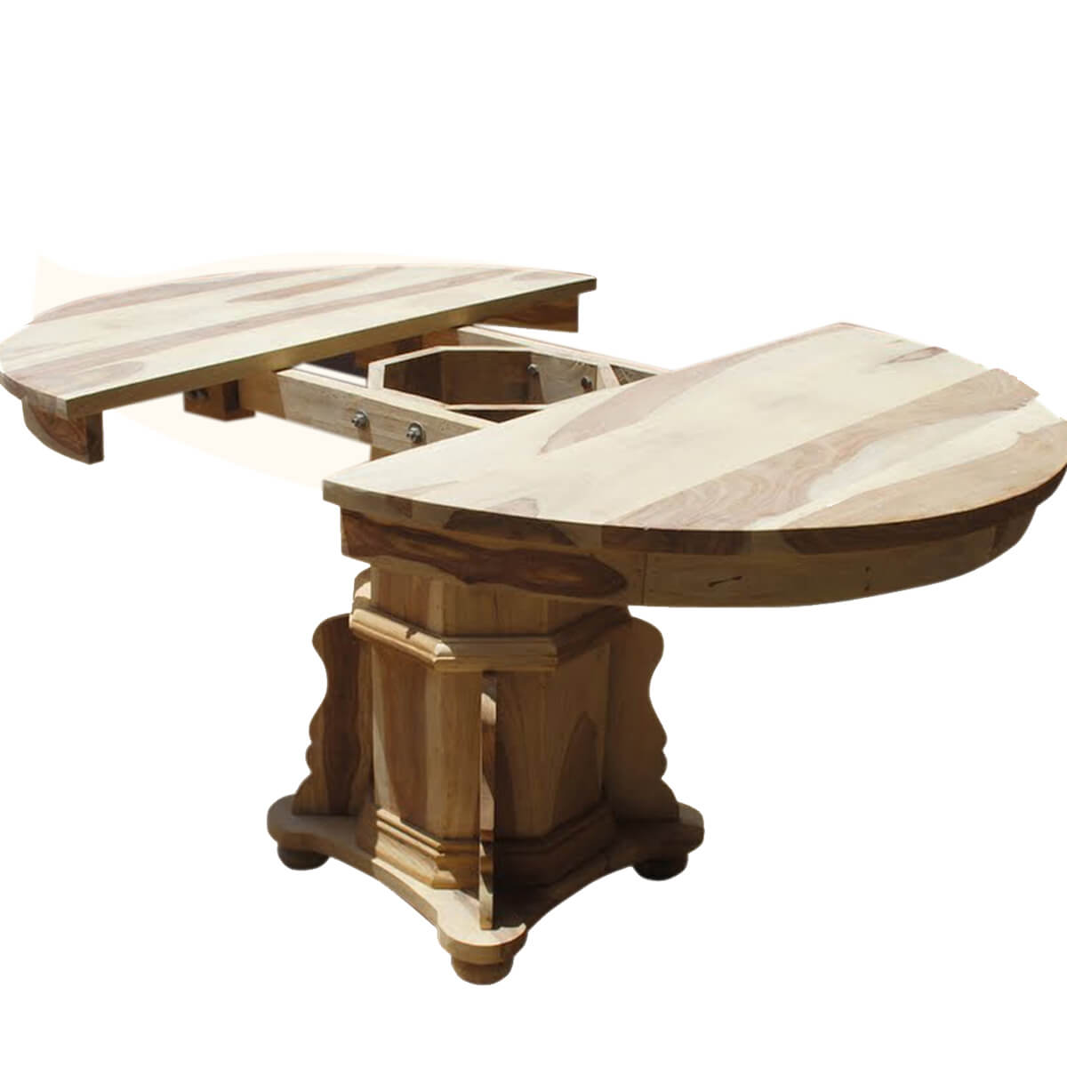 Dallas ranch solid wood pedestal round dining table w for Pedestal table