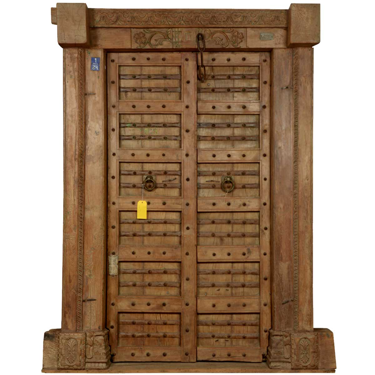 Gothic gates reclaimed wood hand carved doors frame set for Hand carved wood doors