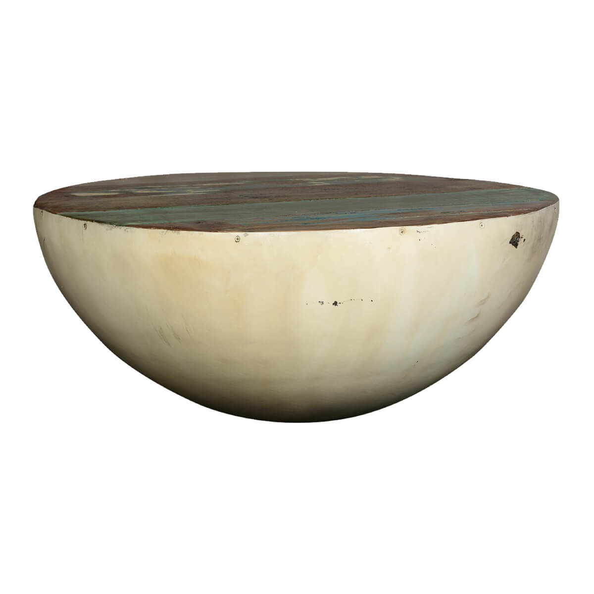 Collection Half Moon Reclaimed Wood Iron 35 Round Coffee Table