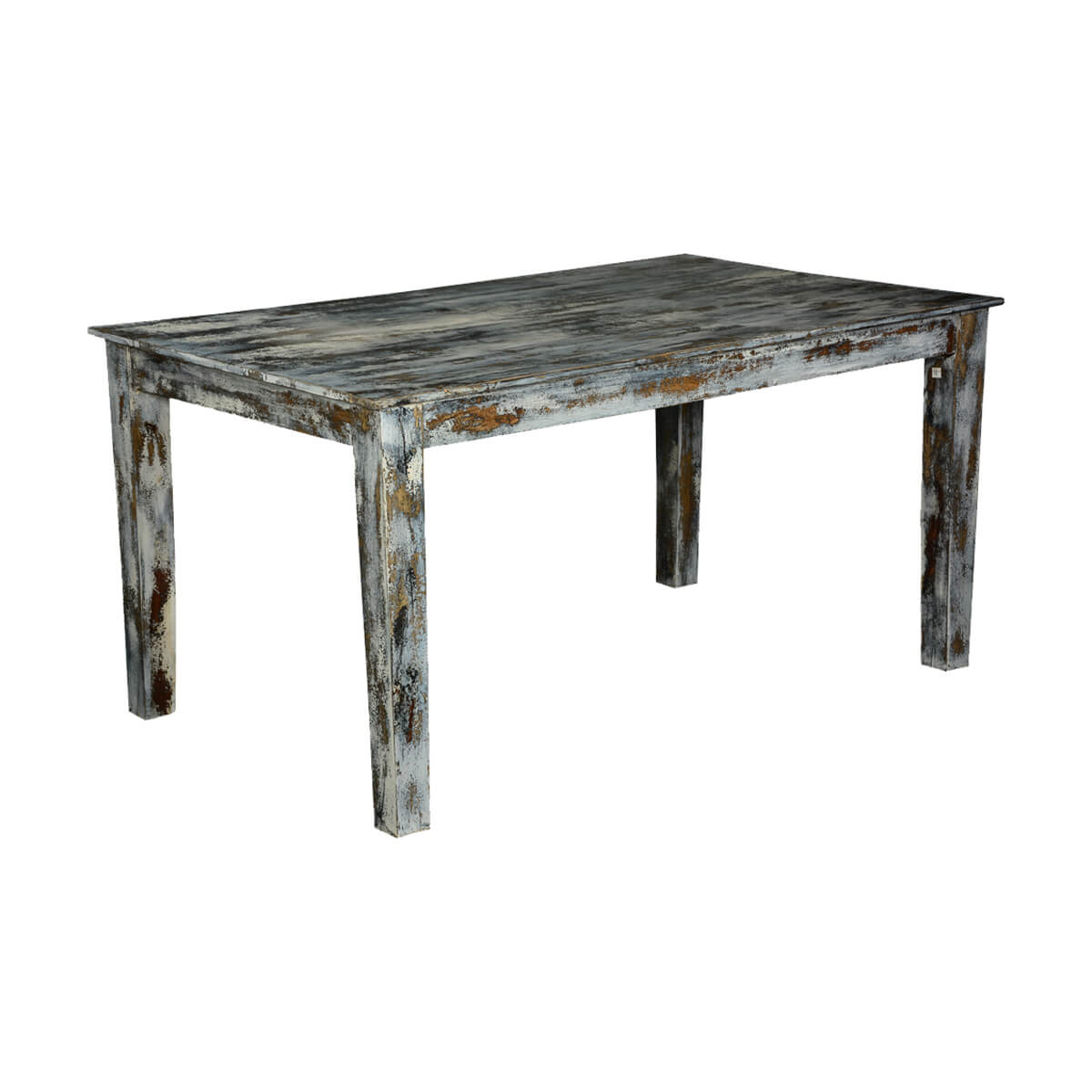 Grey speckled distressed wood kitchen dining table for Dinner table wood