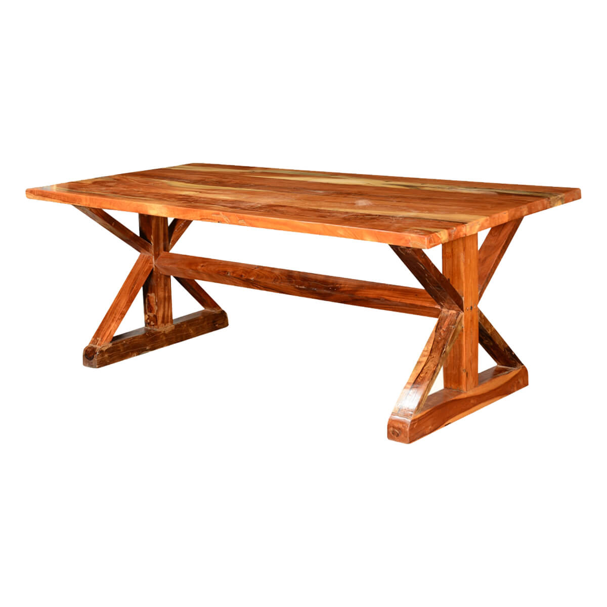 Rustic x legs acacia wood 78 5 picnic style trestle for Trestle dining table