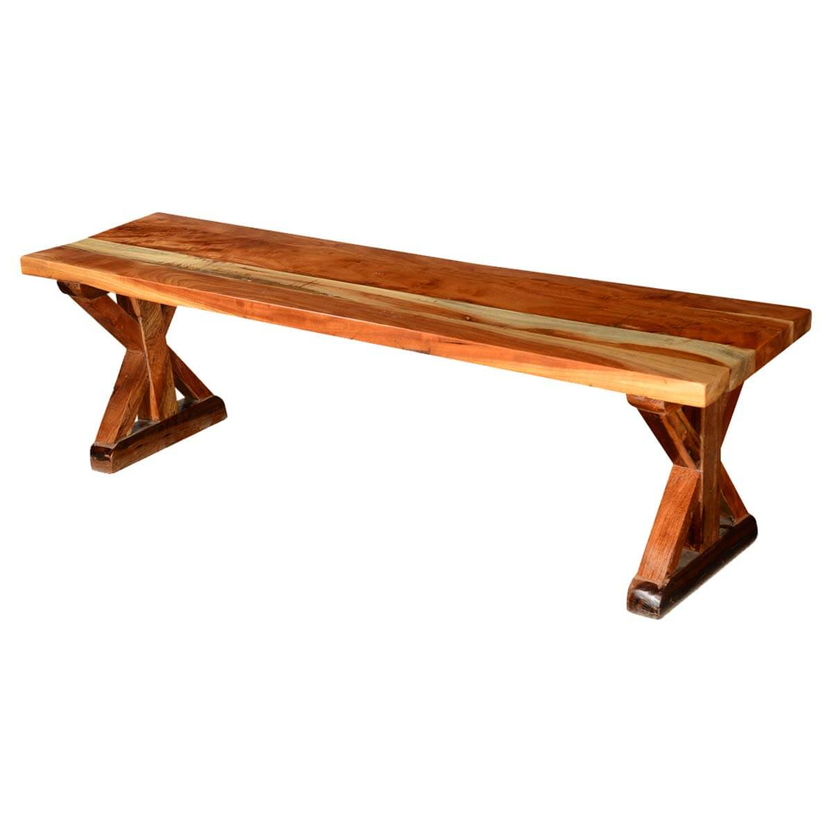 Rustic X Legs Acacia Wood 59 Backless Bench