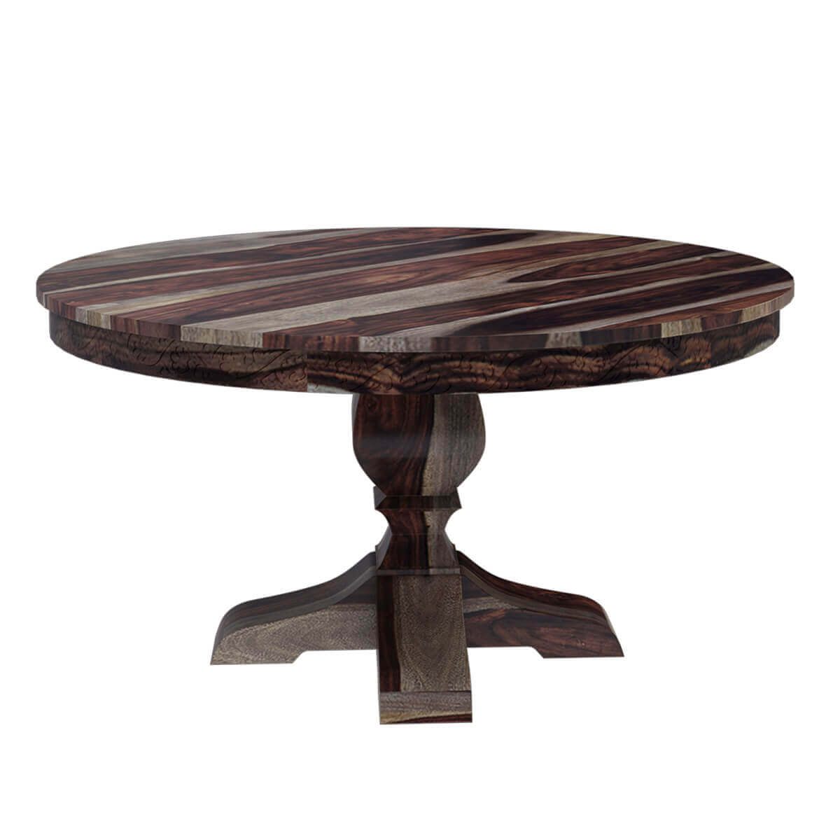 Hosford handcrafted solid wood 60 round pedestal dining table for Hardwood dining table