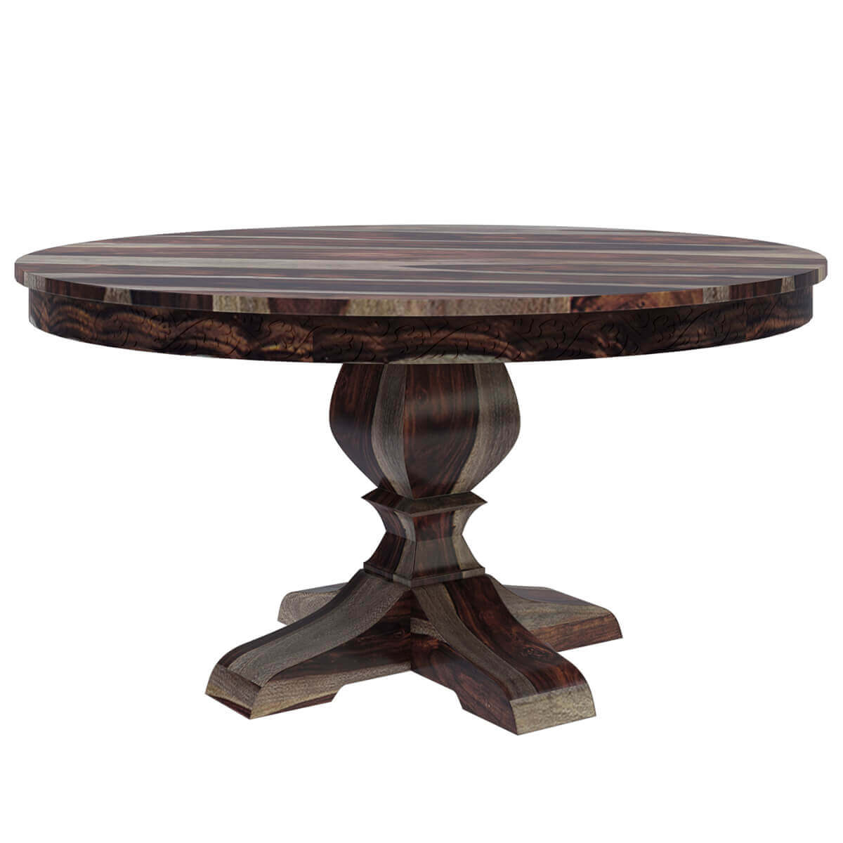 Hosford handcrafted solid wood 60 round pedestal dining table for Pedestal table