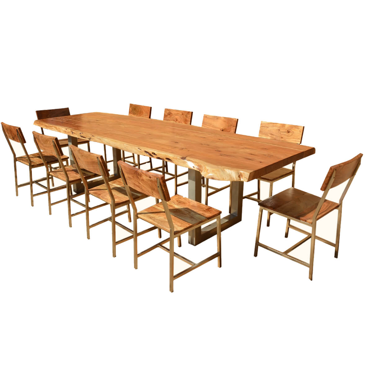 Live Edge Acacia Wood Iron 117 Modern Dining Table 10 Chairs