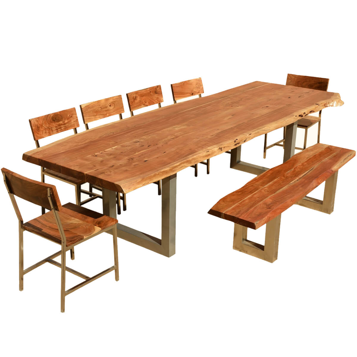 117 live edge dining table w 6 chairs bench acacia wood iron. Black Bedroom Furniture Sets. Home Design Ideas