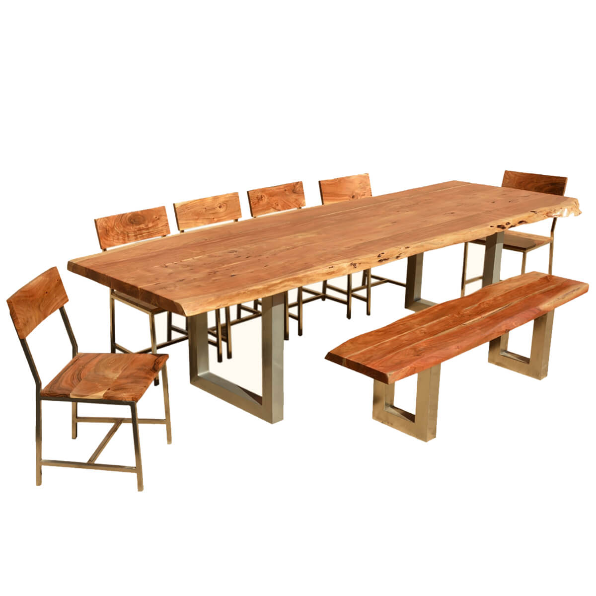 "Kitchen Tables With Benches And Chairs Table Wood: 117"" Live Edge Dining Table W 6 Chairs & Bench"