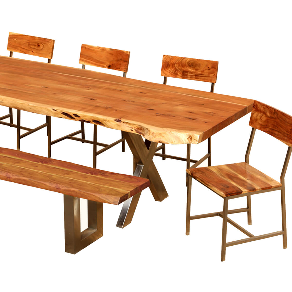 "Live Edge Acacia Wood & Iron 106"" Dining Table w 5 Chairs ..."