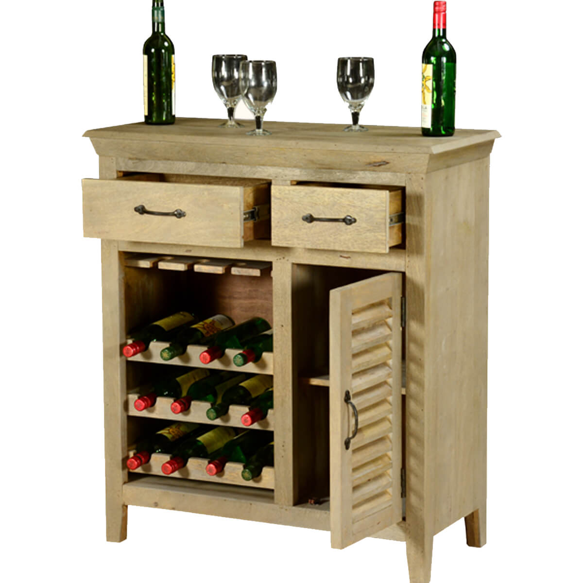 Wood Wine Bar ~ Oklahoma rustic mango wood drawer bar cabinet with wine