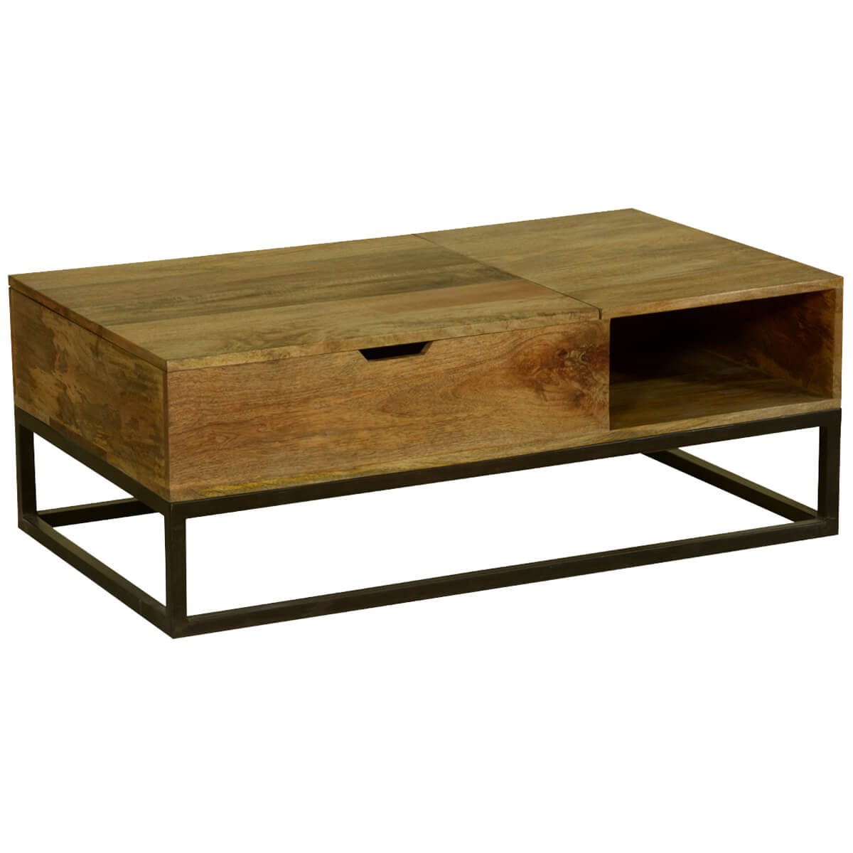 Modern Industrial Mango Wood Iron Coffee Table Chest