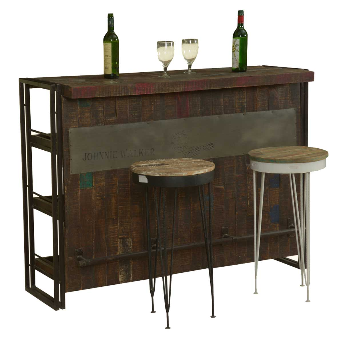 Gratis Modern Mango Wood Industrial Wine Bar Cabinet With