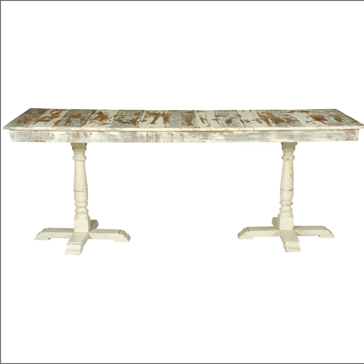 Grey amp White Distressed Mango Wood 785quot 2 Pedestal Dining  : 72071 from www.sierralivingconcepts.com size 1200 x 1200 jpeg 291kB