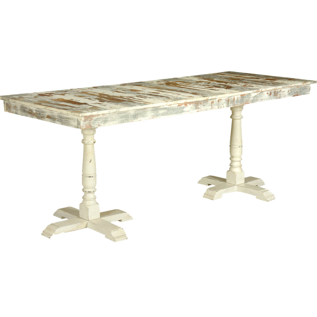 Grey amp White Distressed Mango Wood 785quot 2 Pedestal Dining  : 72072 from www.sierralivingconcepts.com size 1200 x 1200 jpeg 305kB