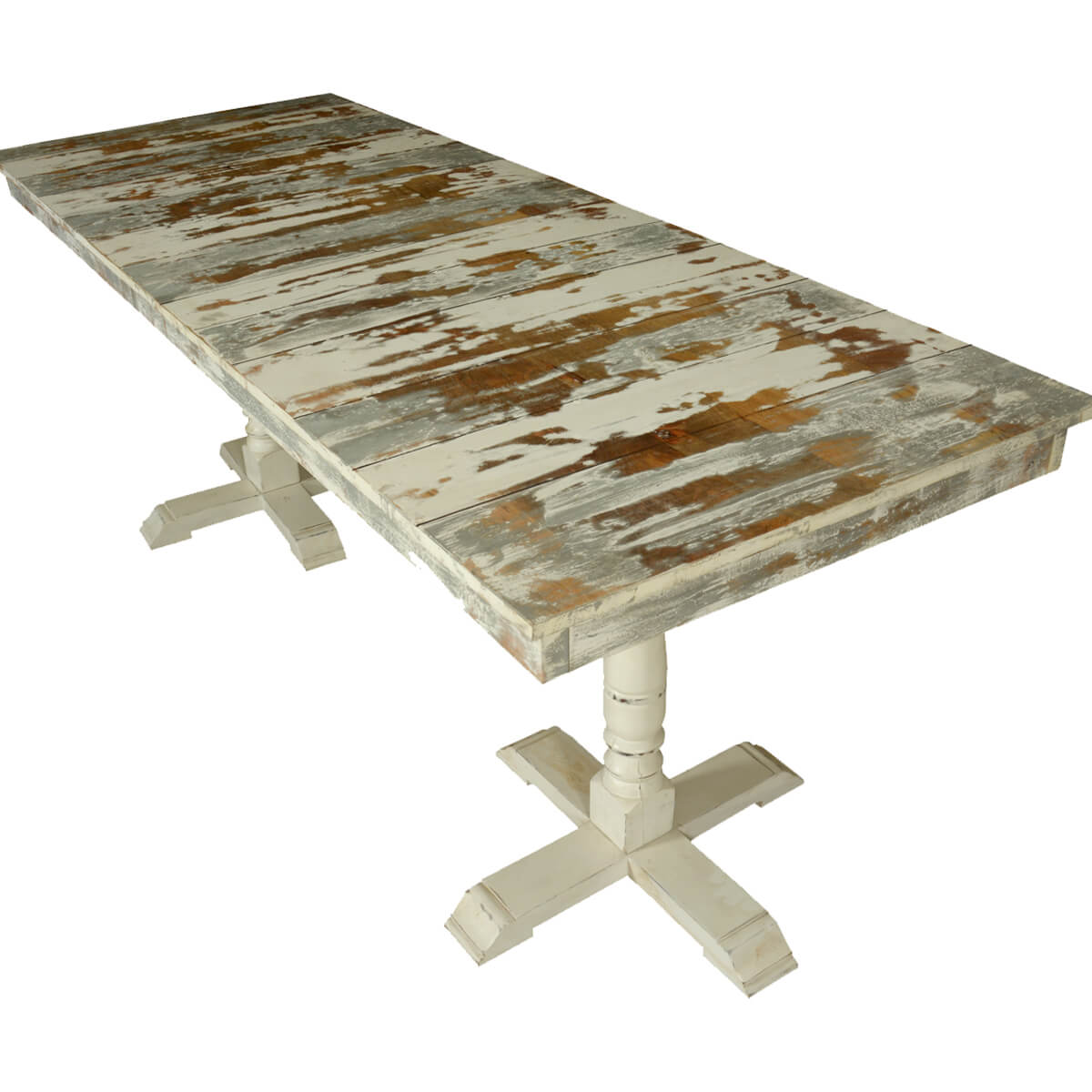 Grey amp White Distressed Mango Wood 785quot 2 Pedestal Dining  : 72073 from www.sierralivingconcepts.com size 1200 x 1200 jpeg 539kB