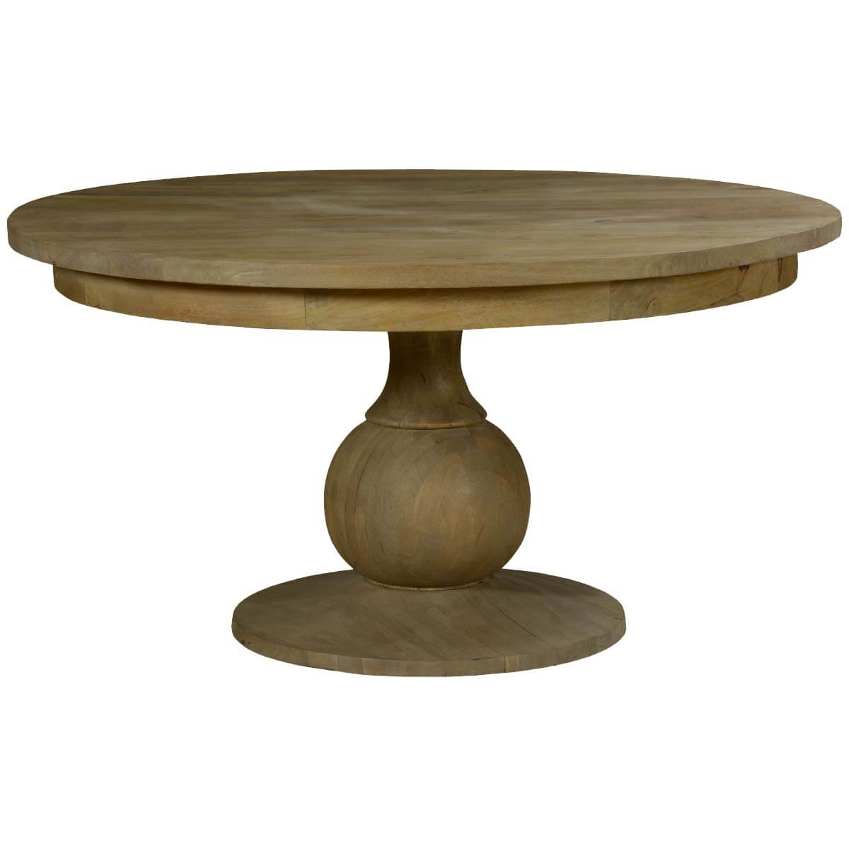 Smokey tan solid mango wood 60 round pedestal dining table for Solid wood round tables dining
