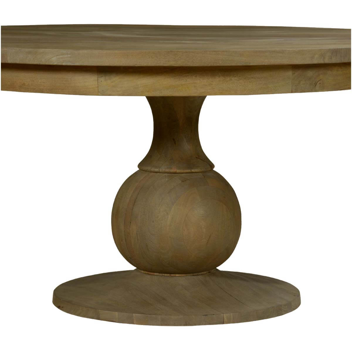 "Smokey Tan Solid Mango Wood 60"" Round Pedestal Dining Table"