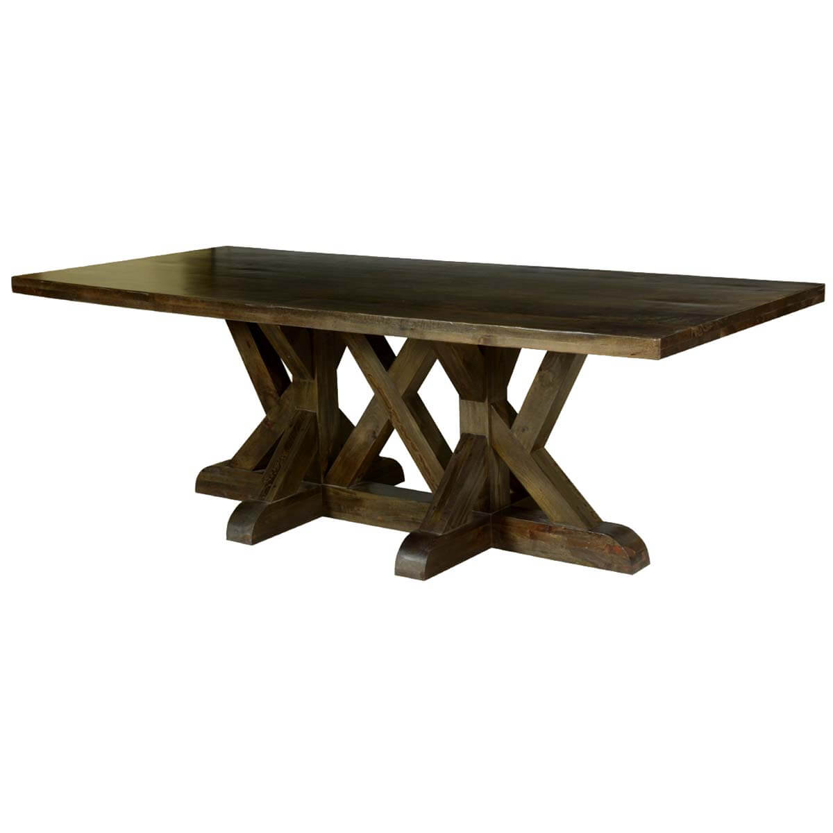 Five x trestle solid mango wood 94 dining table for Mango wood dining table