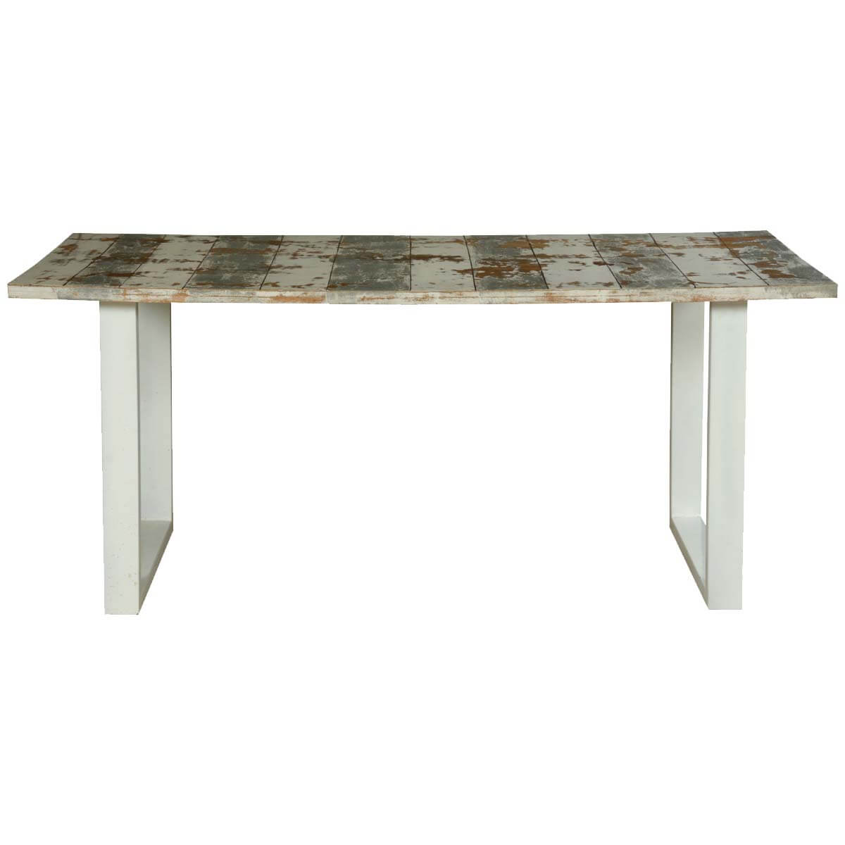 Grey White Striped Mango Wood Polished Iron 70 Dining T