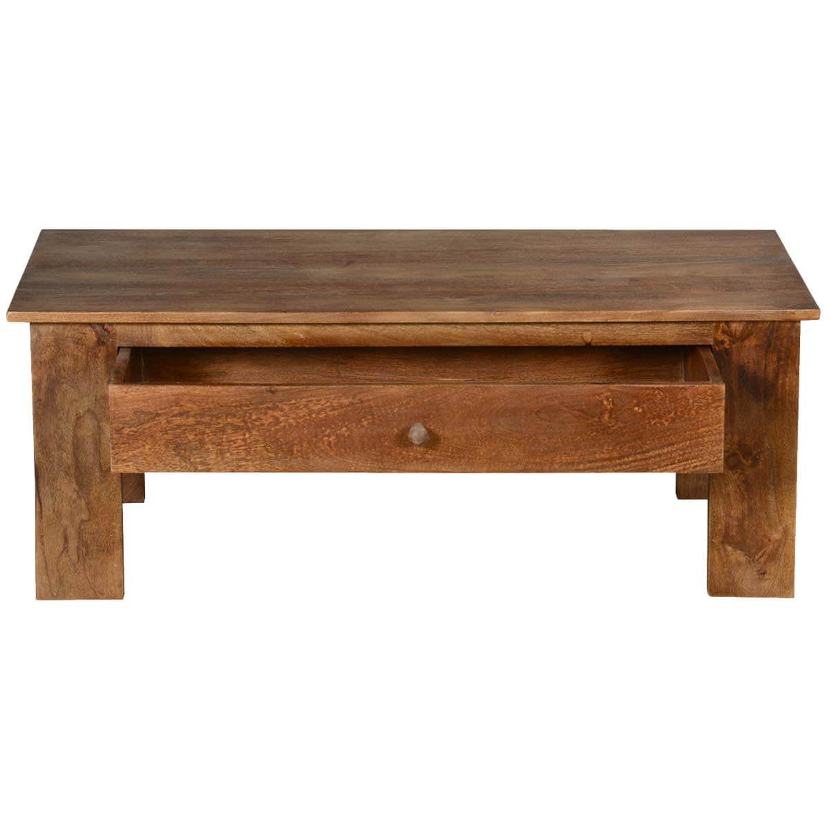 Pioneer rustic solid mango wood 42 coffee table w hidden for Rustic coffee table with drawers