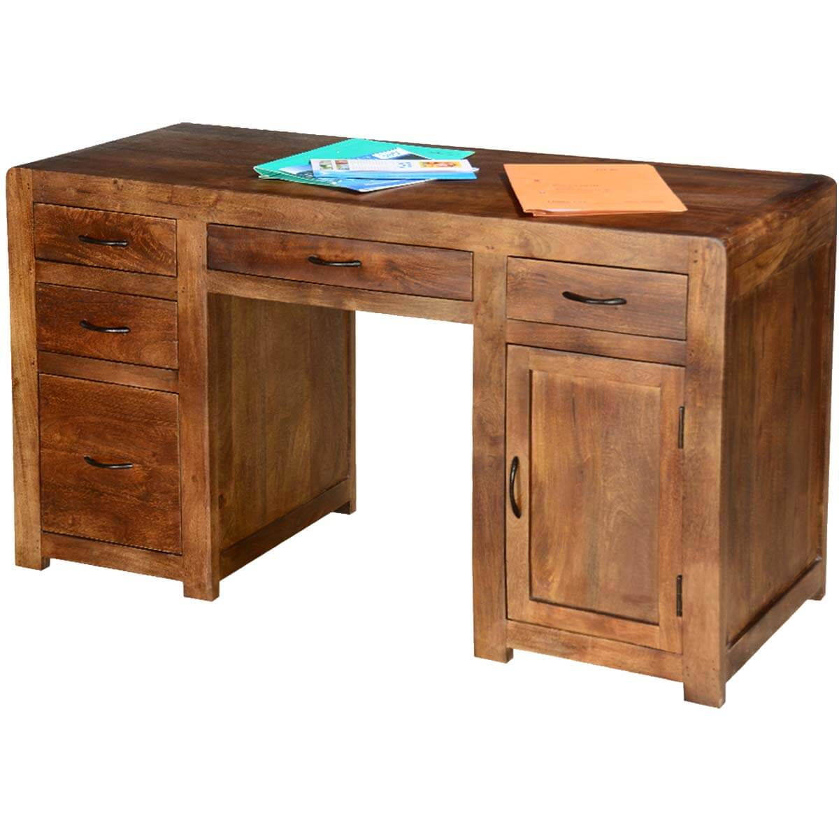Desk Cabinet: Rustic Classic Pedestal Storage Desk With 5 Drawer N Cabinet