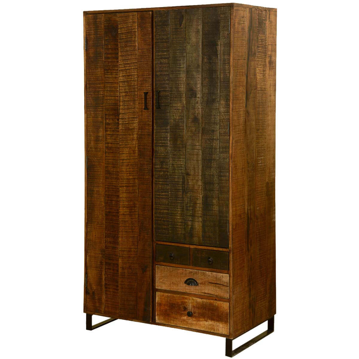 Wooden patches mango wood iron quot wardrobe armoire cabinet