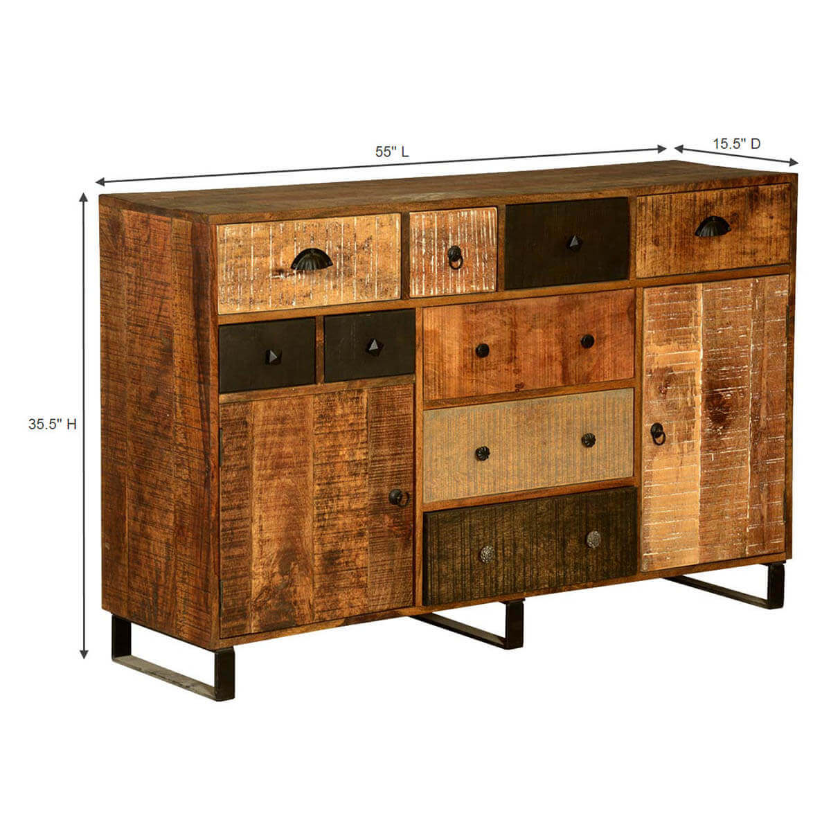 Contemporary Wooden Patches Mango Wood & Iron 55 Buffet Cabinet. Full resolution‎  file, nominally Width 1200 Height 1200 pixels, file with #BD720E.