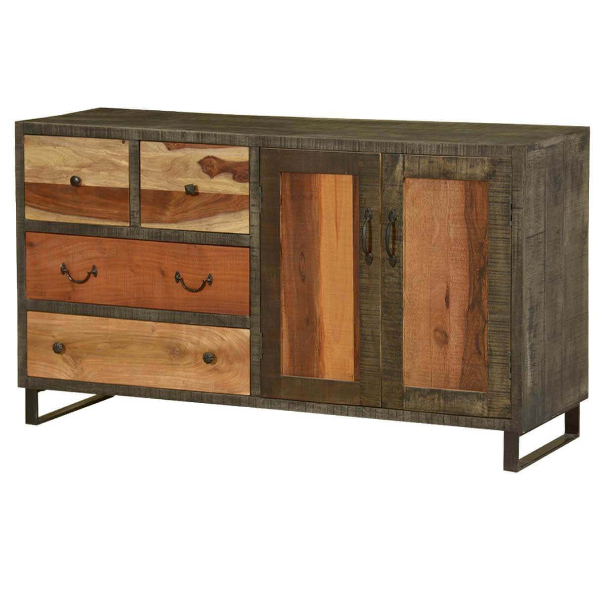 Wooden Patches Mango Wood & Iron 59 Sideboard Cabinet. Full resolution‎  file, nominally Width 1200 Height 1200 pixels, file with #B27F19.