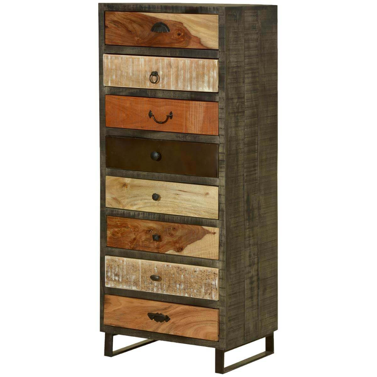 Wooden Patches Mango Wood amp Iron 52 Chest Of 8 Drawers