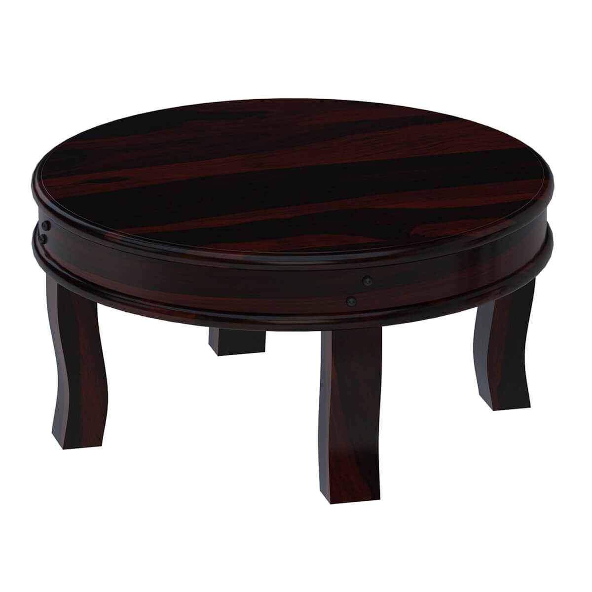 "Solid Wood Curved Coffee Table: Full Moon Solid Wood 36"" Round Coffee Table"