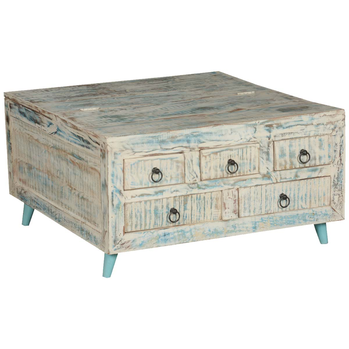 """Coffee Table Chest Drawers: White Washed Reclaimed Wood 35.5"""" Sq Coffee Table 5-Drawer"""