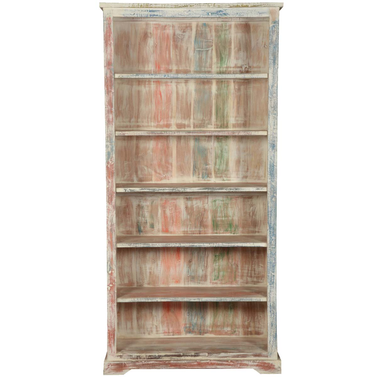 White washed reclaimed wood 6 shelf 78 5 bookcase open for Shelves made from reclaimed wood