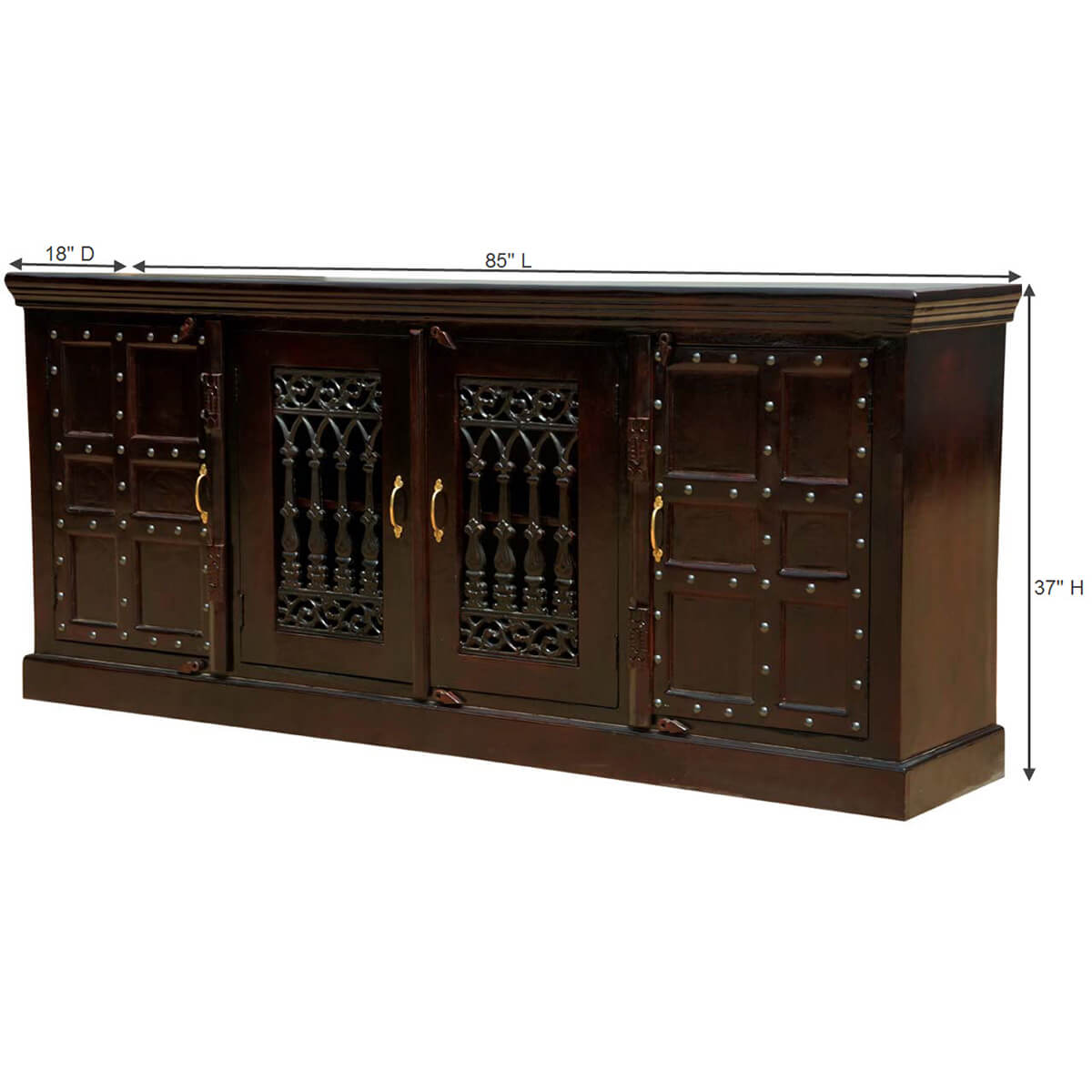 Arrivals Nottingham Classic Mango Wood 85 Sideboard Buffet Cabinet. Full resolution‎  file, nominally Width 1200 Height 1200 pixels, file with #B48317.