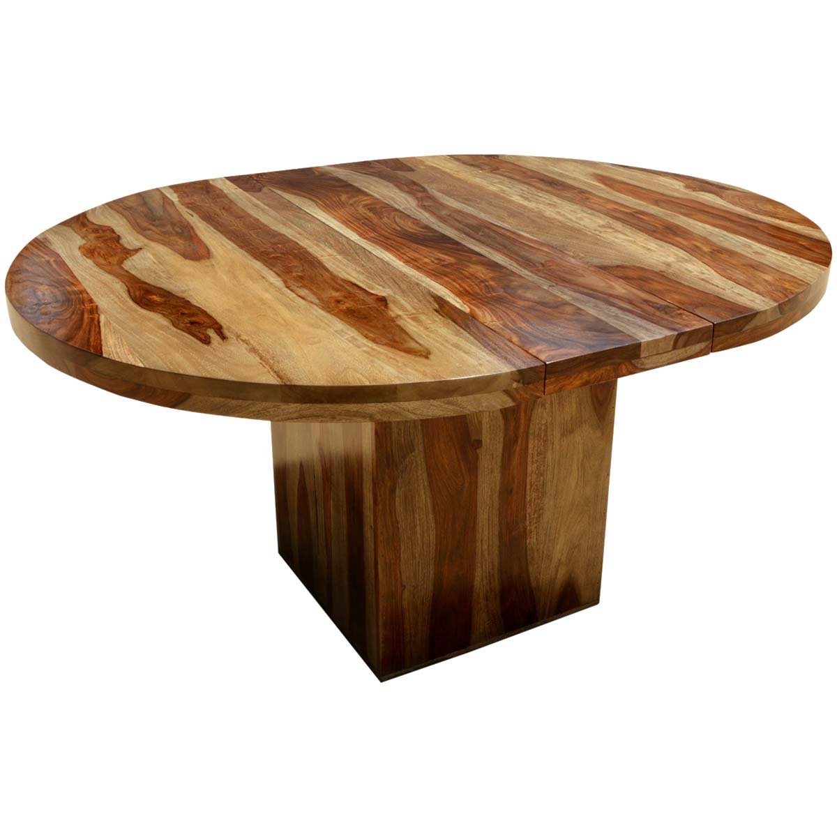 Circle on the square solid wood round dining table w extension for Round extension dining table
