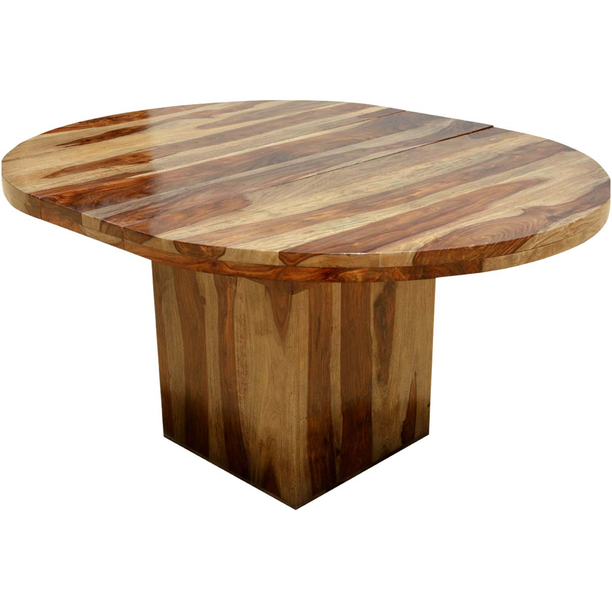 Circle on the square solid wood round dining table w extension for Solid wood dining table