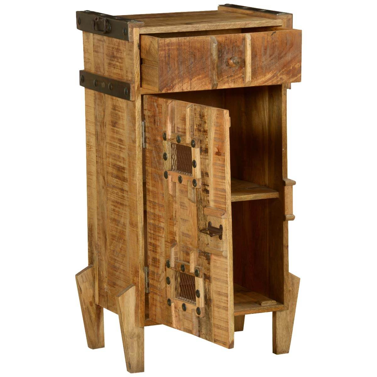Gothic tower standing farmhouse rustic storage cabinet for Farmhouse tower