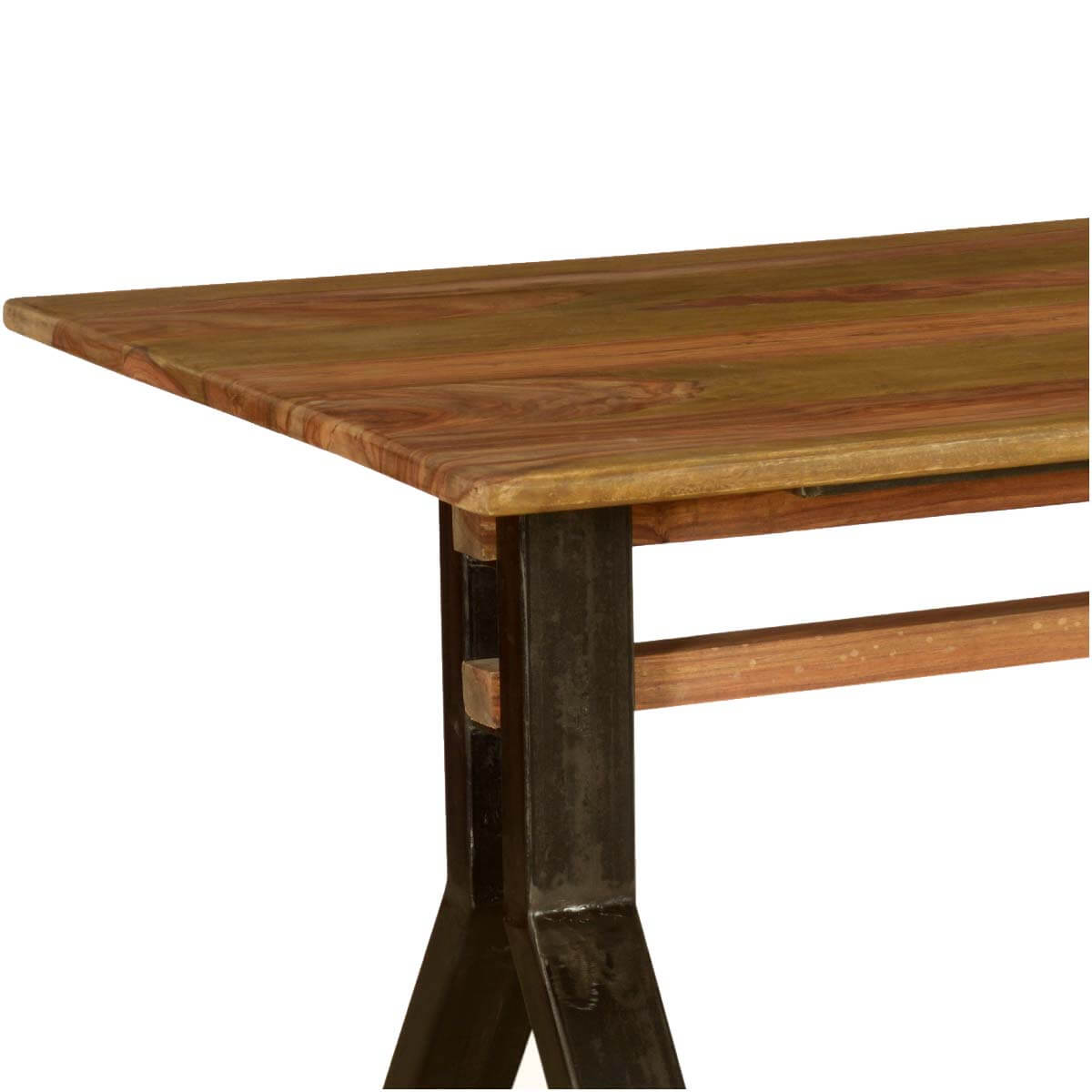 Rustic Wooden Dining Tables ~ Pioneer rustic solid wood iron industrial trestle dining