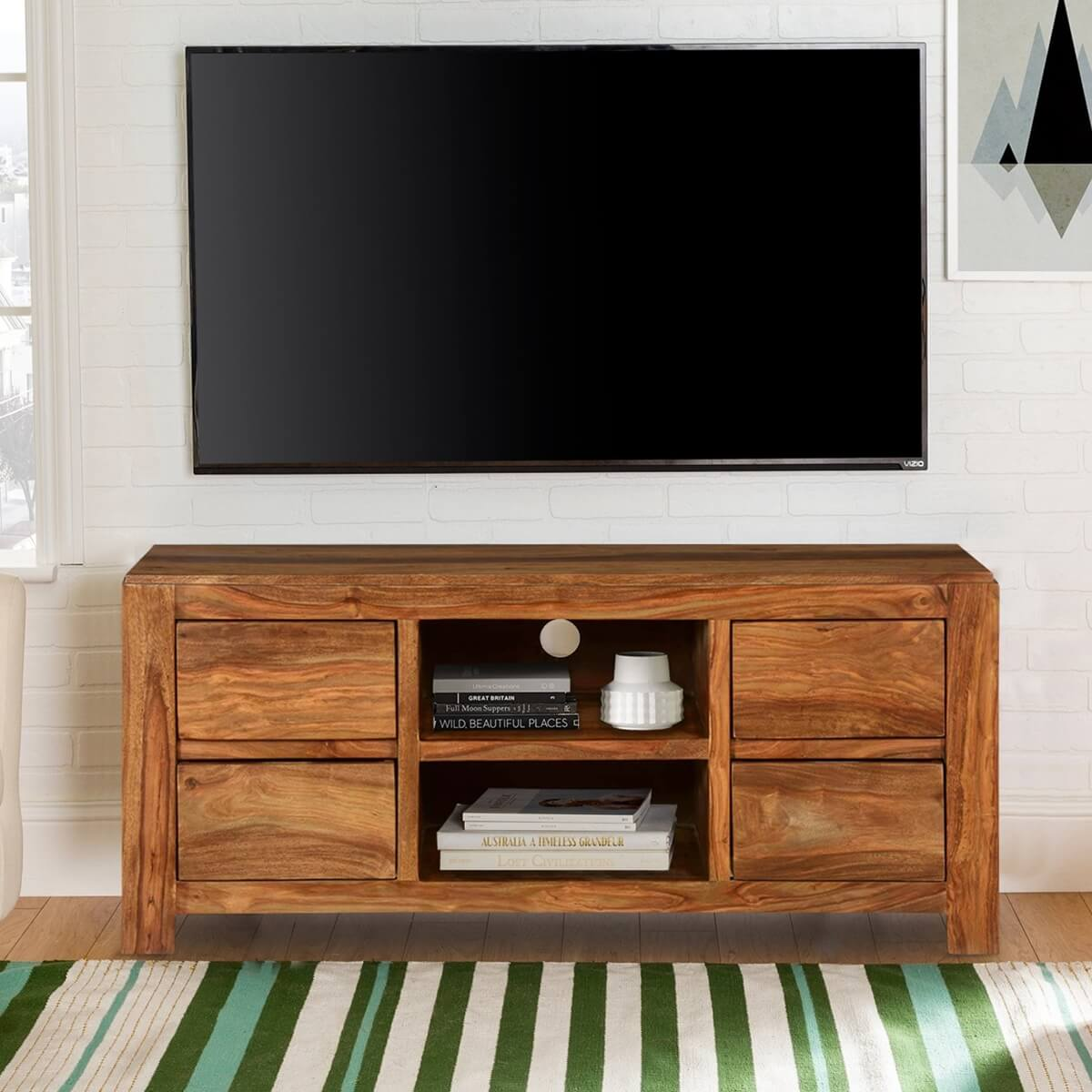 Pioneer modern rustic solid wood tv console media island