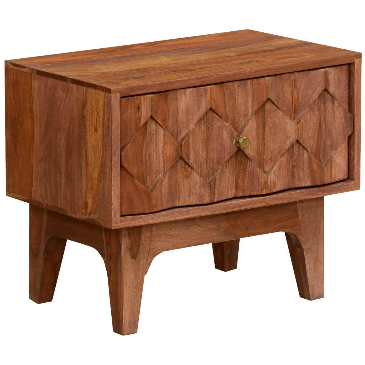 Carved diamonds solid wood nightstand end table w drawer