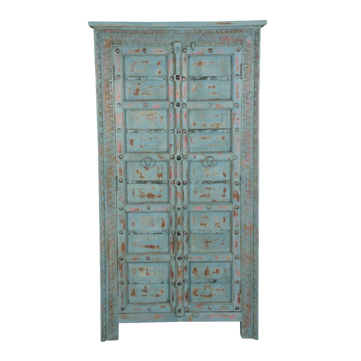 Rustic blue solid wood quot double door storage armoire cabinet