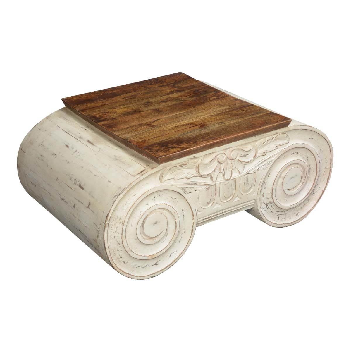 Winter white double scroll mango wood coffee table for Table th scroll