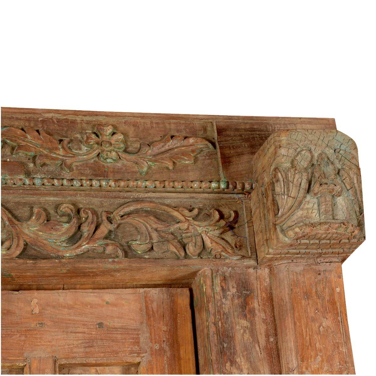Rustic gothic reclaimed wood hand carved double door frame for Hand carved wood doors