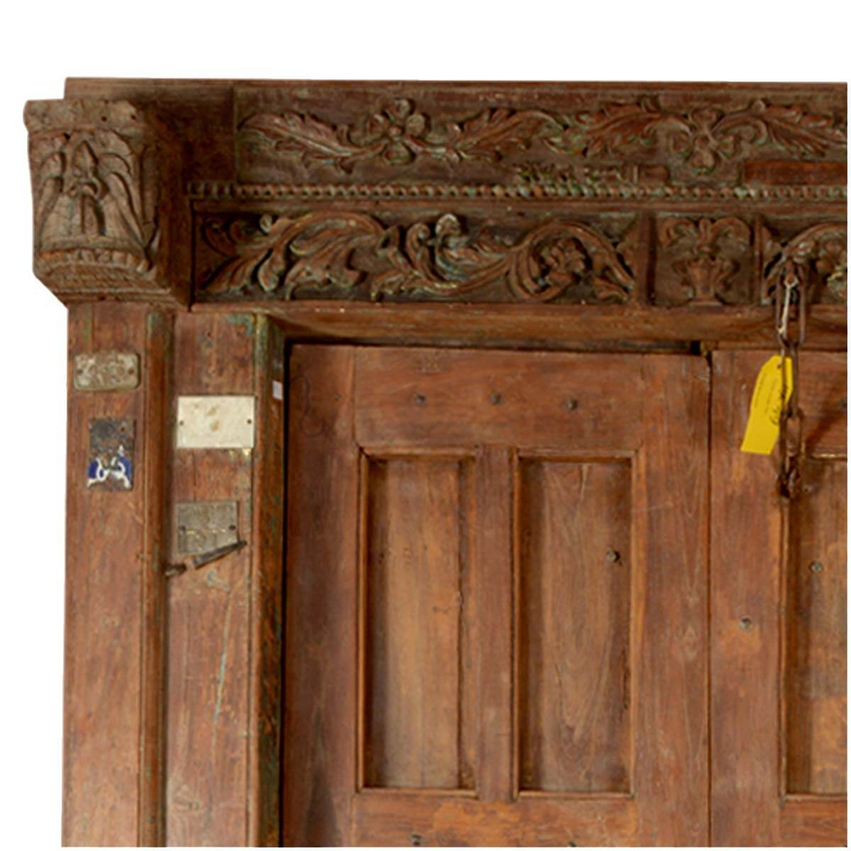 Rustic gothic reclaimed wood hand carved double door frame