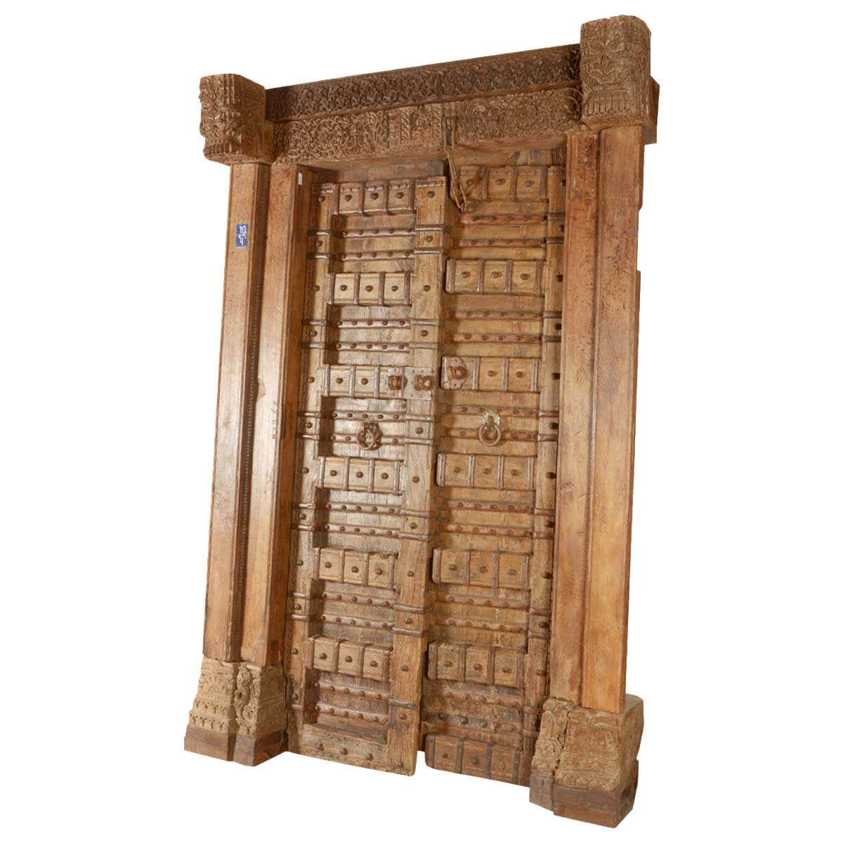 Classic reclaimed wood hand carved castle door frame set for Hand carved wood doors