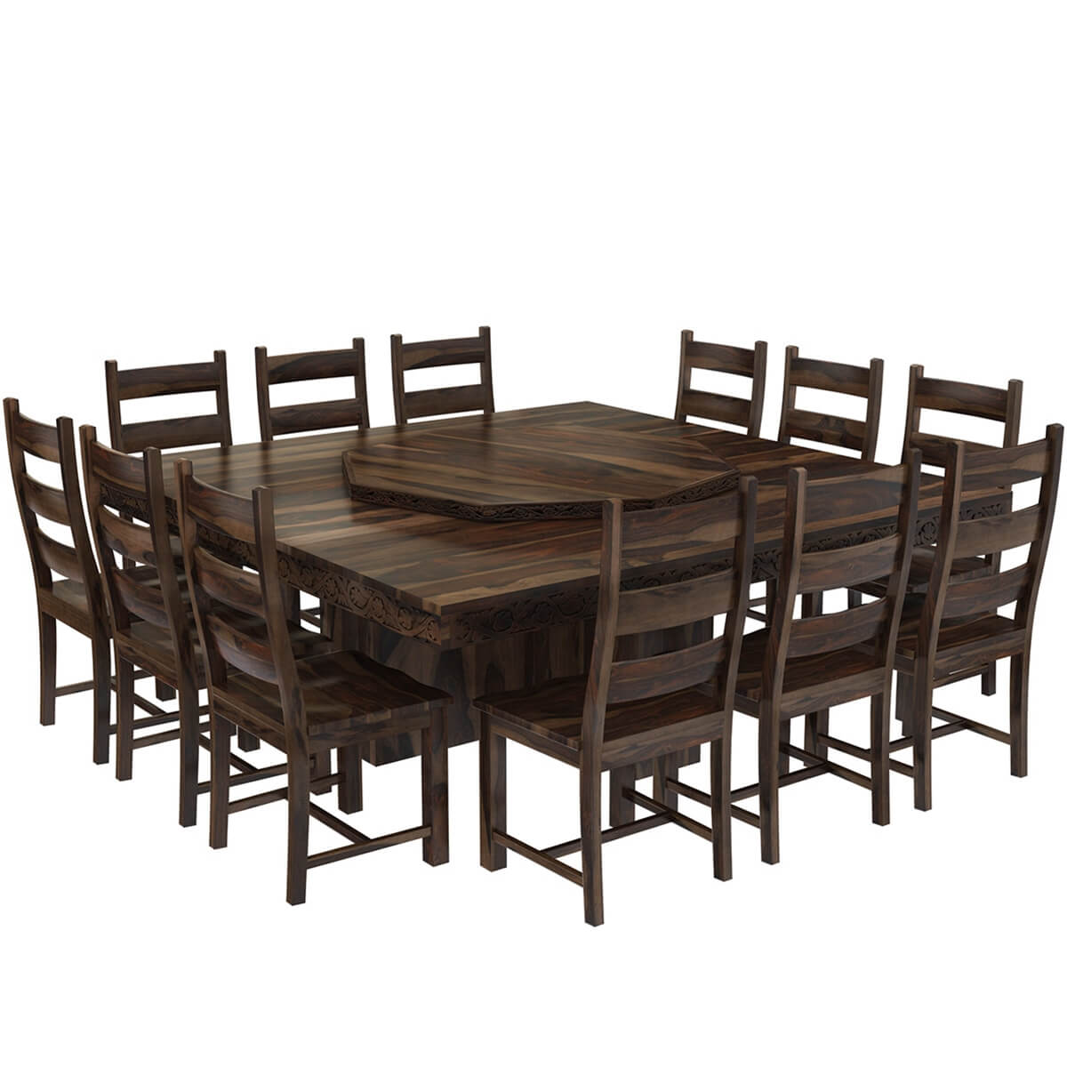 Modern Pioneer Solid Wood Lazy Susan Pedestal Dining Table  : 73791 from www.sierralivingconcepts.com size 1200 x 1200 jpeg 107kB
