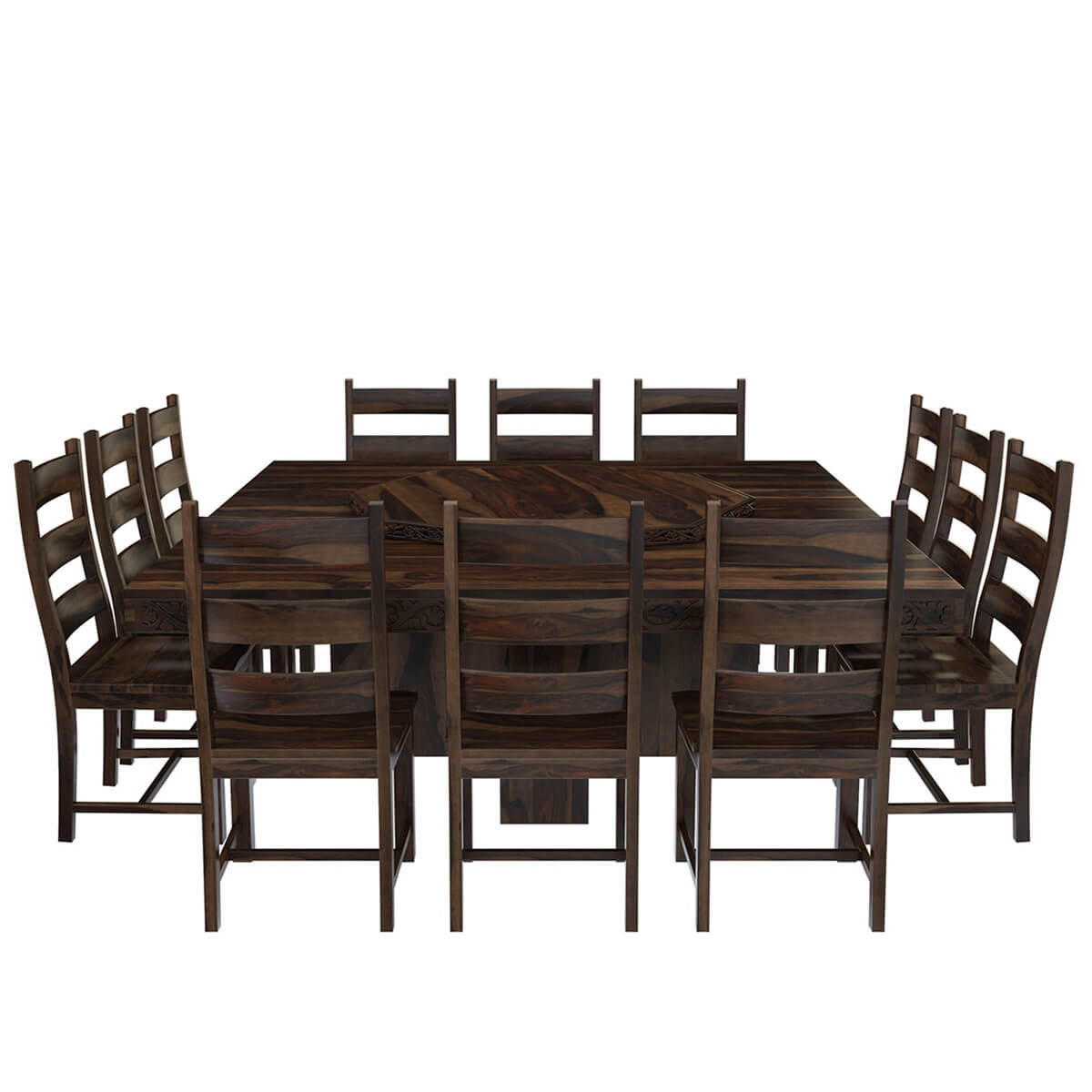 Modern Pioneer Solid Wood Lazy Susan Pedestal Dining Table