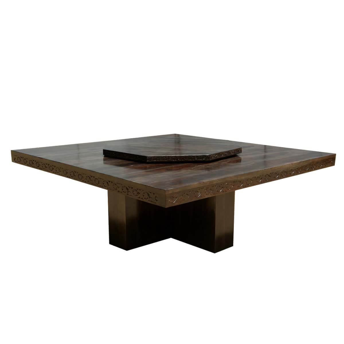 square contemporary solid wood pedestal dining table w lazy susan. Black Bedroom Furniture Sets. Home Design Ideas