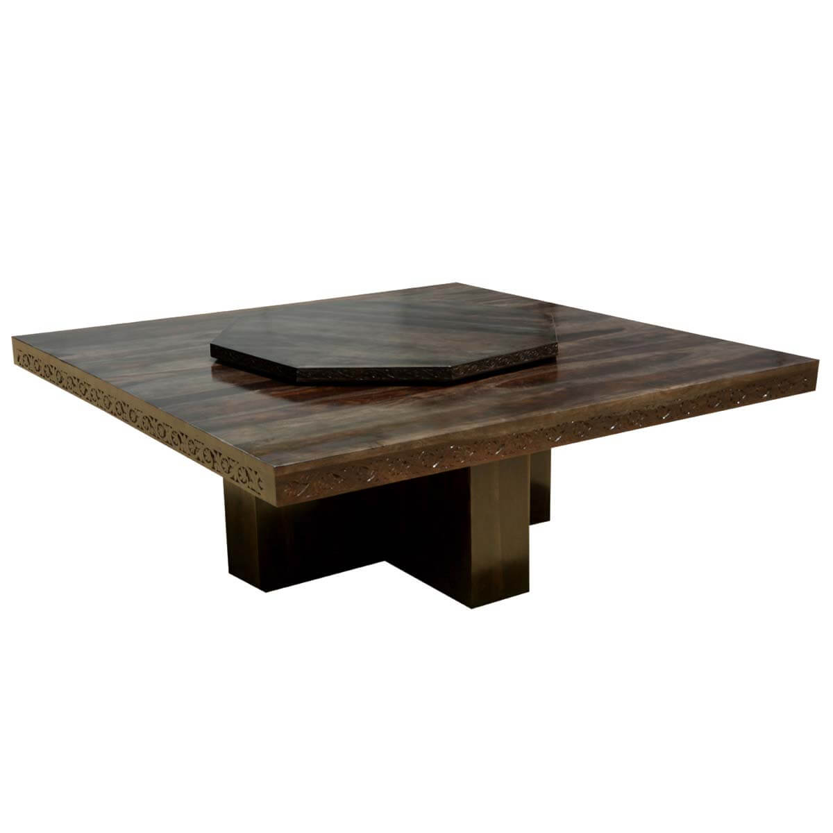 Square Contemporary Solid Wood Pedestal Dining Table W