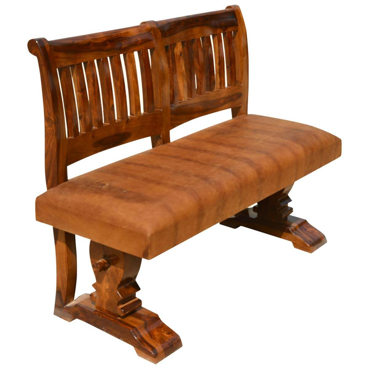 New Arrivals Nottingham Solid Wood & Leather Trestle Upholstered Bench. Full resolution‎  image, nominally Width 1200 Height 1200 pixels, image with #AF500E.