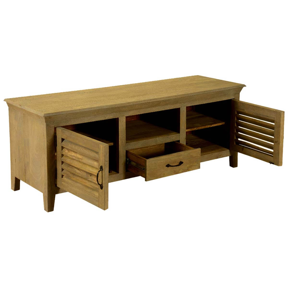 Modern farmhouse mango wood 5p cabinet coffee table for Modern farmhouse coffee table