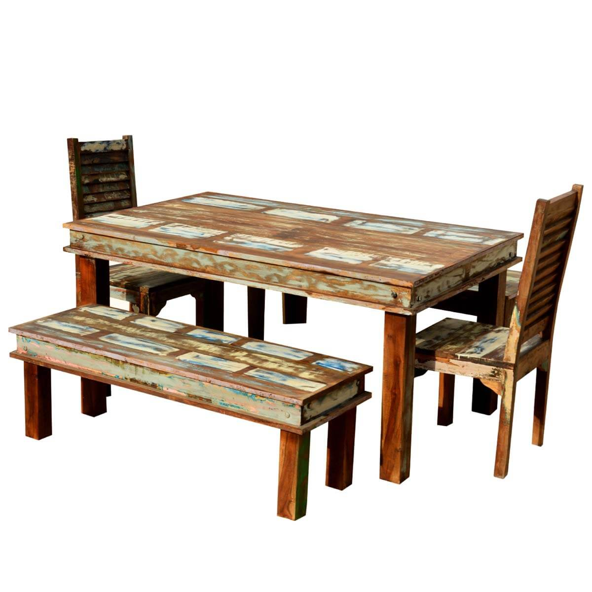 Reclaimed Wood Dining Chairs ~ Sierra reclaimed wood furniture dining table with chairs